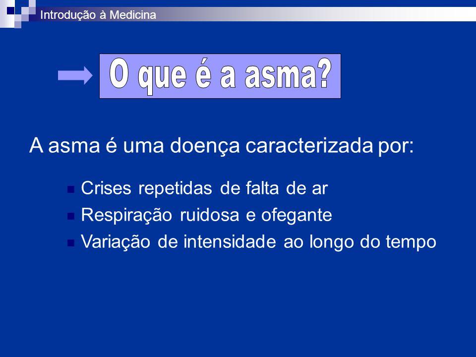 Introdução à Medicina A asma é uma doença caracterizada por: Crises repetidas de falta de ar Respiração ruidosa e ofegante Variação de intensidade ao longo do tempo