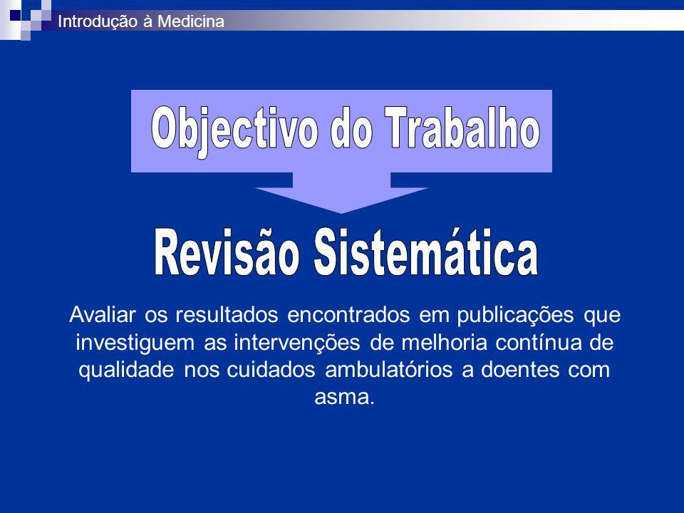 Definição da questão Definição da população alvo Métodos Resultados Redacção do artigo científico Construção de uma página Web Introdução à Medicina