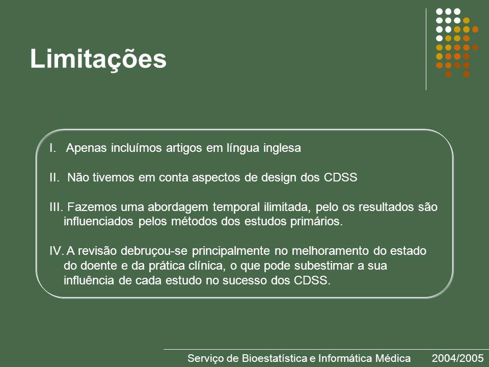 Serviço de Bioestatística e Informática Médica2004/2005 Limitações I.
