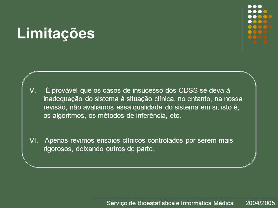 Serviço de Bioestatística e Informática Médica2004/2005 Limitações V.