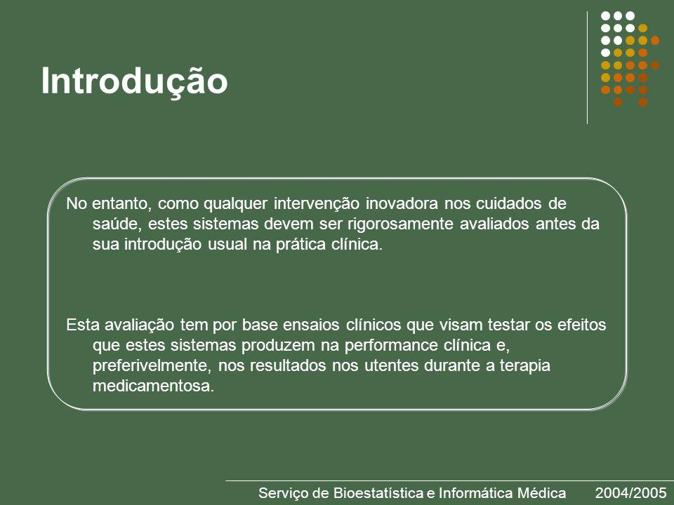 Serviço de Bioestatística e Informática Médica2004/2005 Introdução No entanto, como qualquer intervenção inovadora nos cuidados de saúde, estes sistemas devem ser rigorosamente avaliados antes da sua introdução usual na prática clínica.