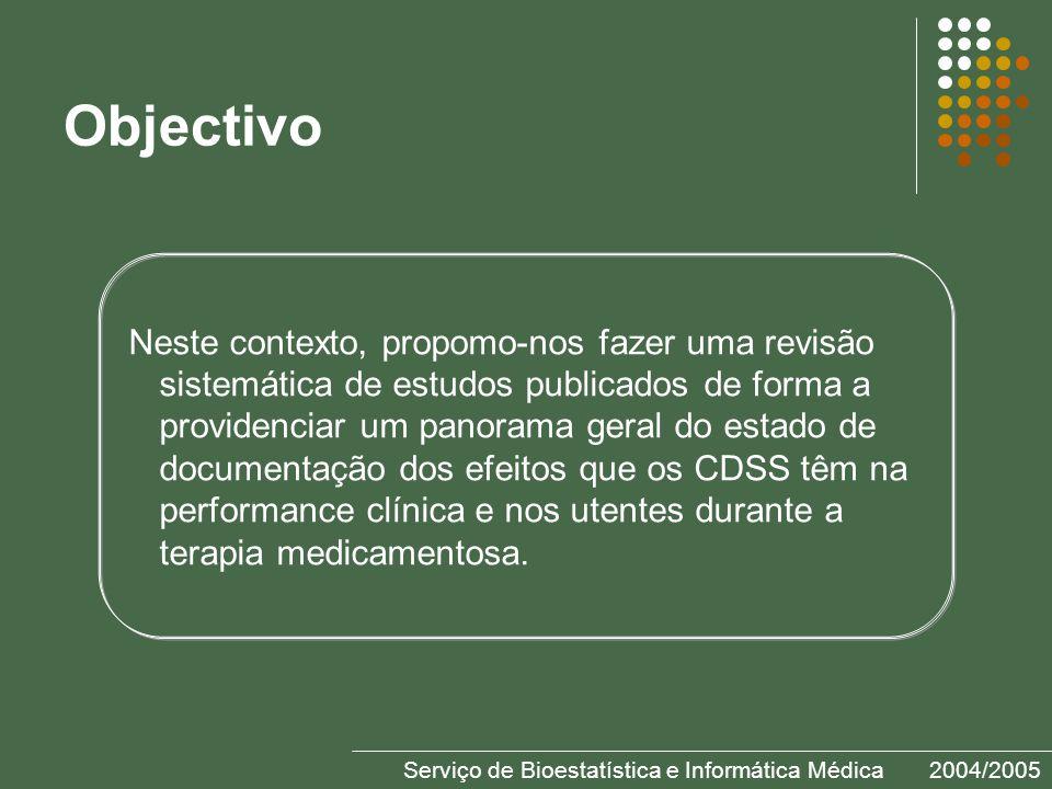 Objectivo Neste contexto, propomo-nos fazer uma revisão sistemática de estudos publicados de forma a providenciar um panorama geral do estado de documentação dos efeitos que os CDSS têm na performance clínica e nos utentes durante a terapia medicamentosa.