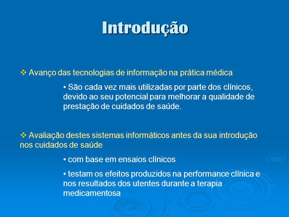 Introdução Avanço das tecnologias de informação na prática médica São cada vez mais utilizadas por parte dos clínicos, devido ao seu potencial para me