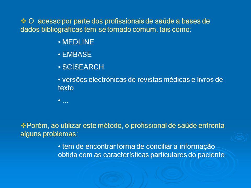 O acesso por parte dos profissionais de saúde a bases de dados bibliográficas tem-se tornado comum, tais como: MEDLINE EMBASE SCISEARCH versões electr