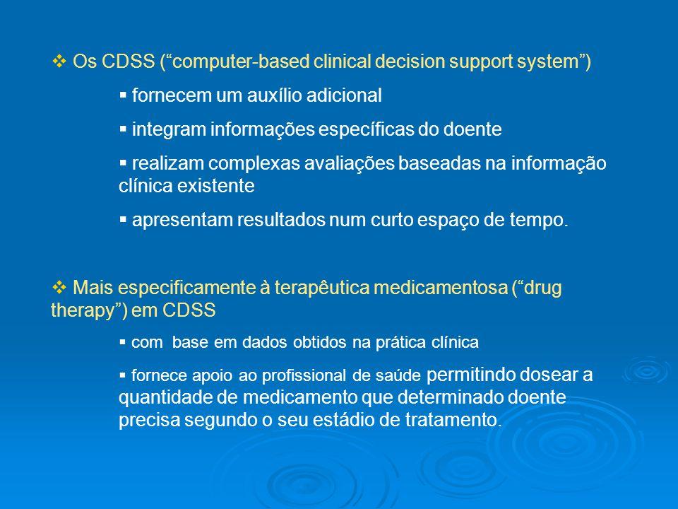 Os CDSS (computer-based clinical decision support system) fornecem um auxílio adicional integram informações específicas do doente realizam complexas