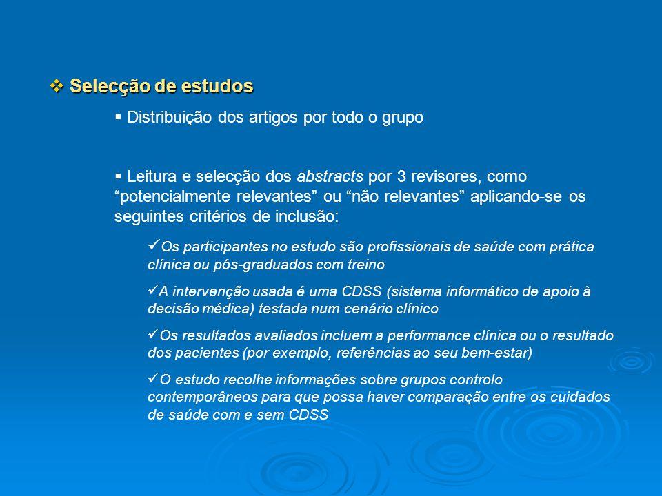 Selecção de estudos Selecção de estudos Distribuição dos artigos por todo o grupo Leitura e selecção dos abstracts por 3 revisores, como potencialment