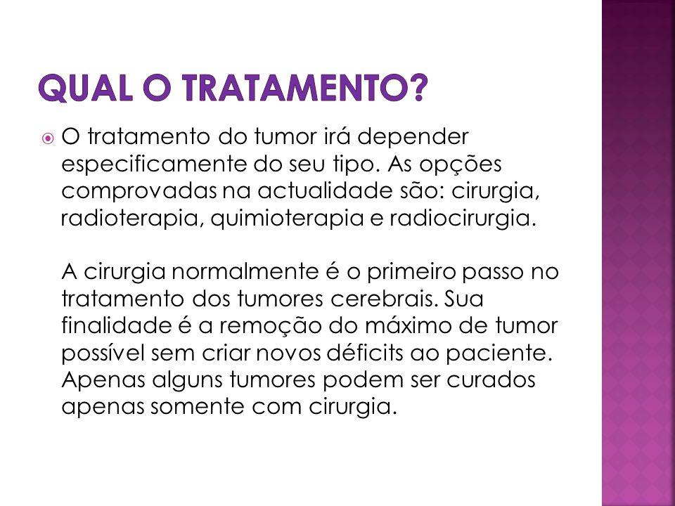 O tratamento do tumor irá depender especificamente do seu tipo. As opções comprovadas na actualidade são: cirurgia, radioterapia, quimioterapia e radi