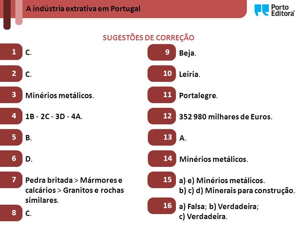 A indústria extrativa em Portugal SUGESTÕES DE CORREÇÃO 1 C.C.