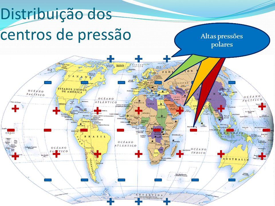 Distribuição dos centros de pressão Baixas pressões equatoriais Altas pressões subtropicais Baixas pressões subpolares Altas pressões polares
