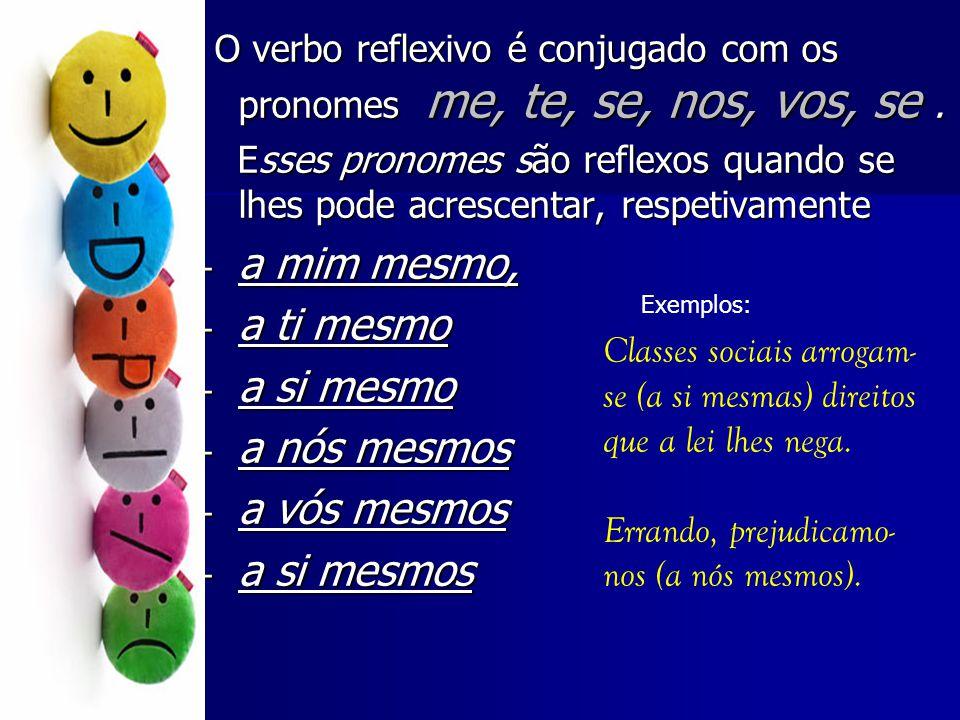 O verbo reflexivo é conjugado com os pronomes me, te, se, nos, vos, se. O verbo reflexivo é conjugado com os pronomes me, te, se, nos, vos, se. Esses