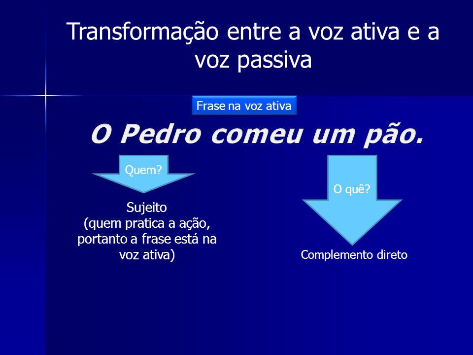 Transformação entre a voz ativa e a voz passiva Quem? O quê? Sujeito (quem pratica a ação, portanto a frase está na voz ativa) Complemento direto Fras