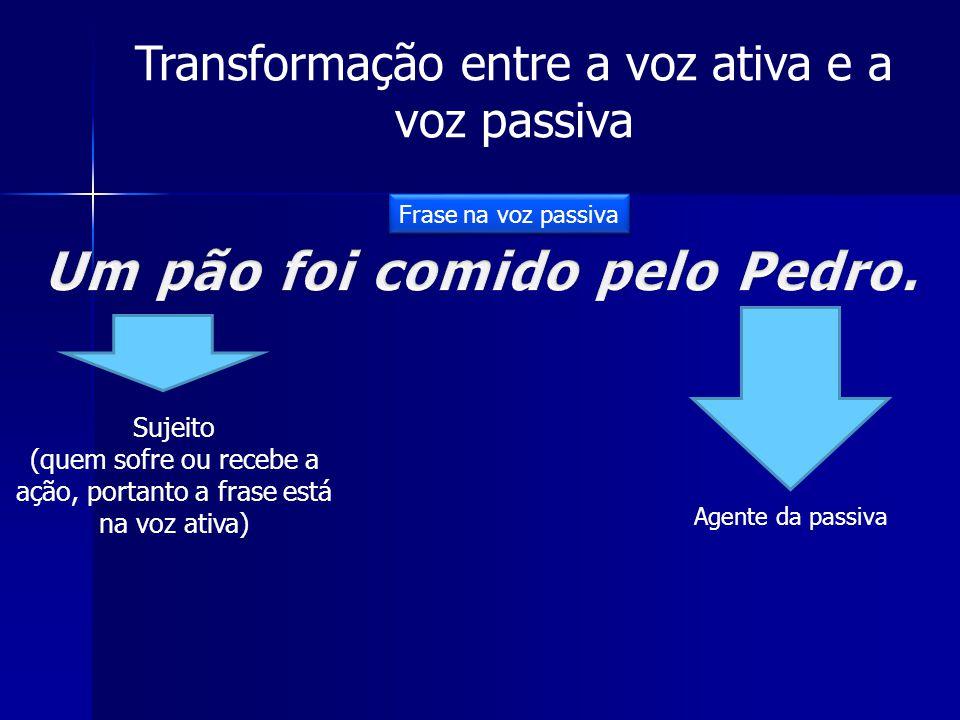 Transformação entre a voz ativa e a voz passiva Sujeito (quem sofre ou recebe a ação, portanto a frase está na voz ativa) Agente da passiva Frase na voz passiva