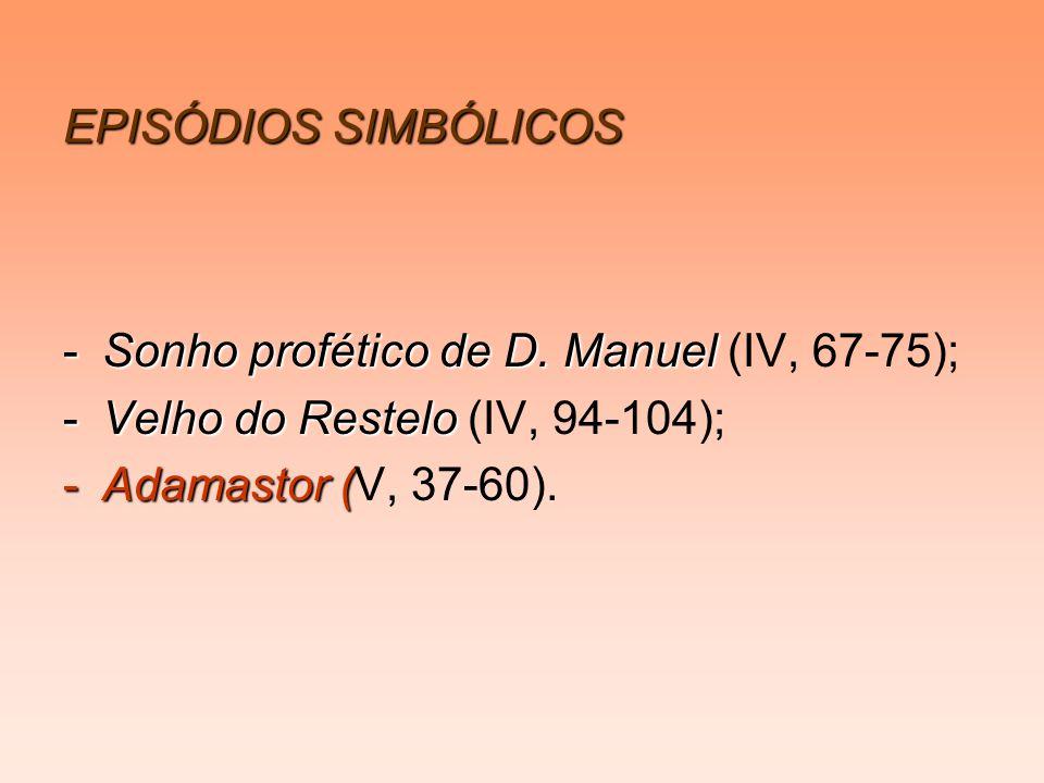 EPISÓDIOS SIMBÓLICOS -Sonho profético de D. Manuel -Sonho profético de D. Manuel (IV, 67-75); -Velho do Restelo -Velho do Restelo (IV, 94-104); -Adama