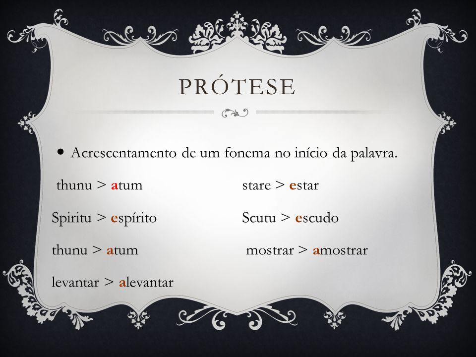EPÊNTESE Acrescentamento de um fonema no interior da palavra.