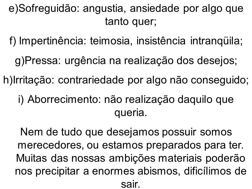 e)Sofreguidão: angustia, ansiedade por algo que tanto quer; f)Impertinência: teimosia, insistência intranqüila; g)Pressa: urgência na realização dos d