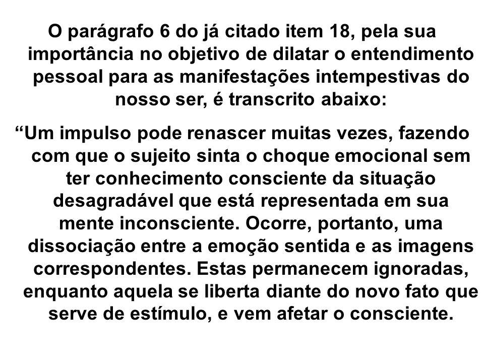O parágrafo 6 do já citado item 18, pela sua importância no objetivo de dilatar o entendimento pessoal para as manifestações intempestivas do nosso se