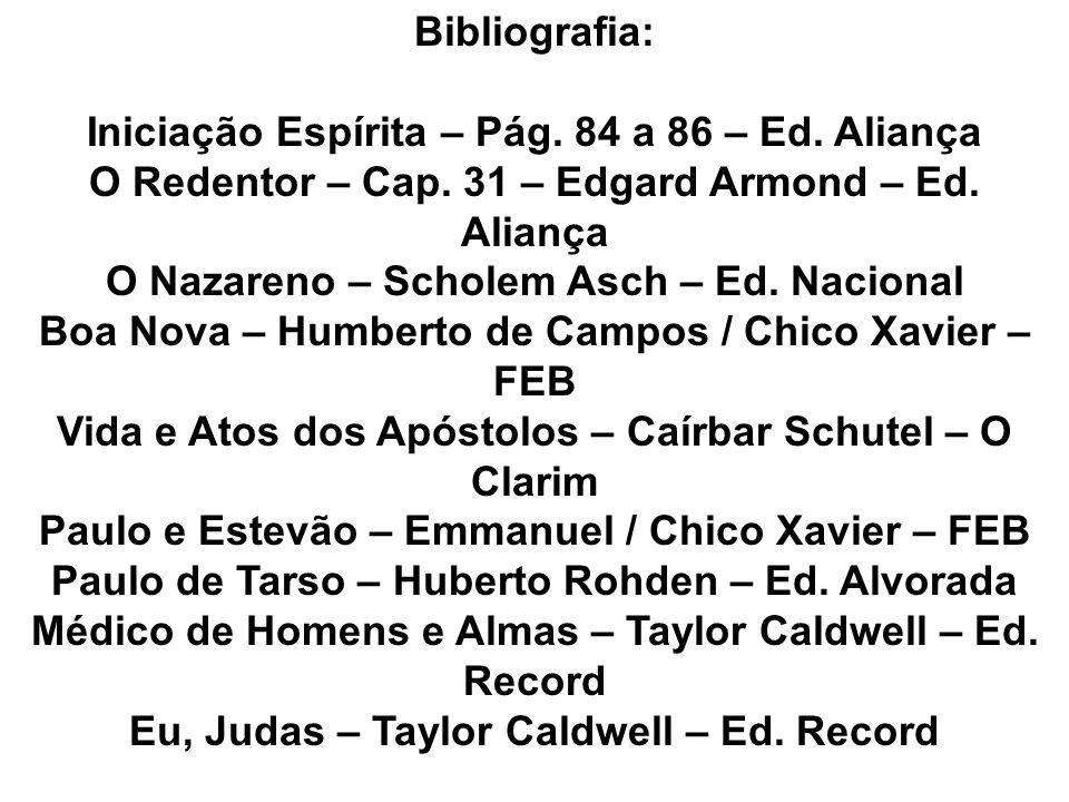 Bibliografia: Iniciação Espírita – Pág. 84 a 86 – Ed. Aliança O Redentor – Cap. 31 – Edgard Armond – Ed. Aliança O Nazareno – Scholem Asch – Ed. Nacio