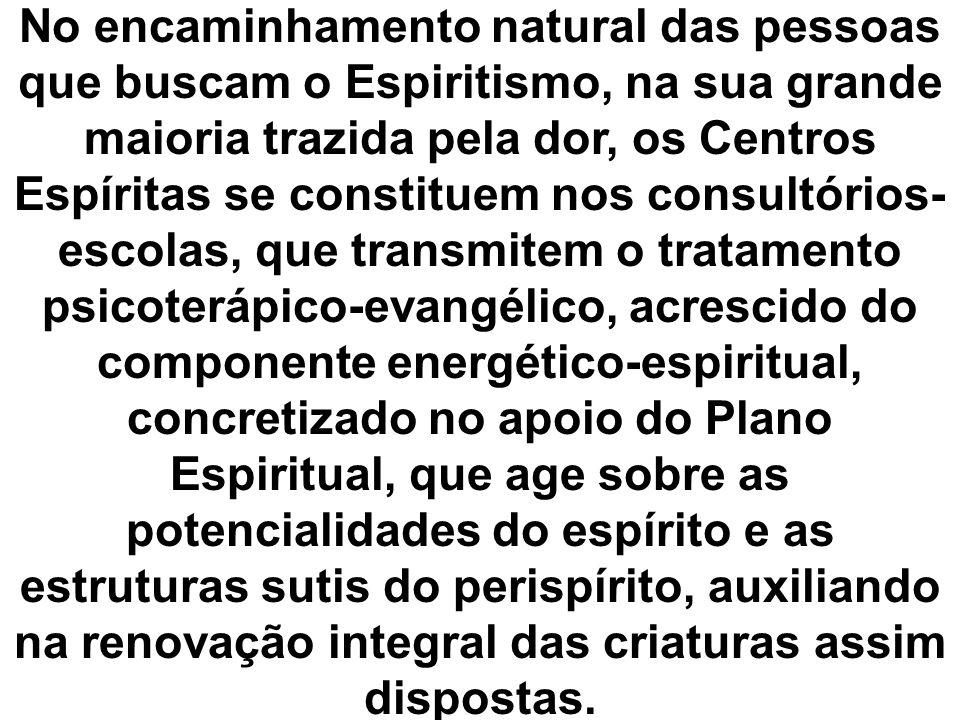 No encaminhamento natural das pessoas que buscam o Espiritismo, na sua grande maioria trazida pela dor, os Centros Espíritas se constituem nos consult