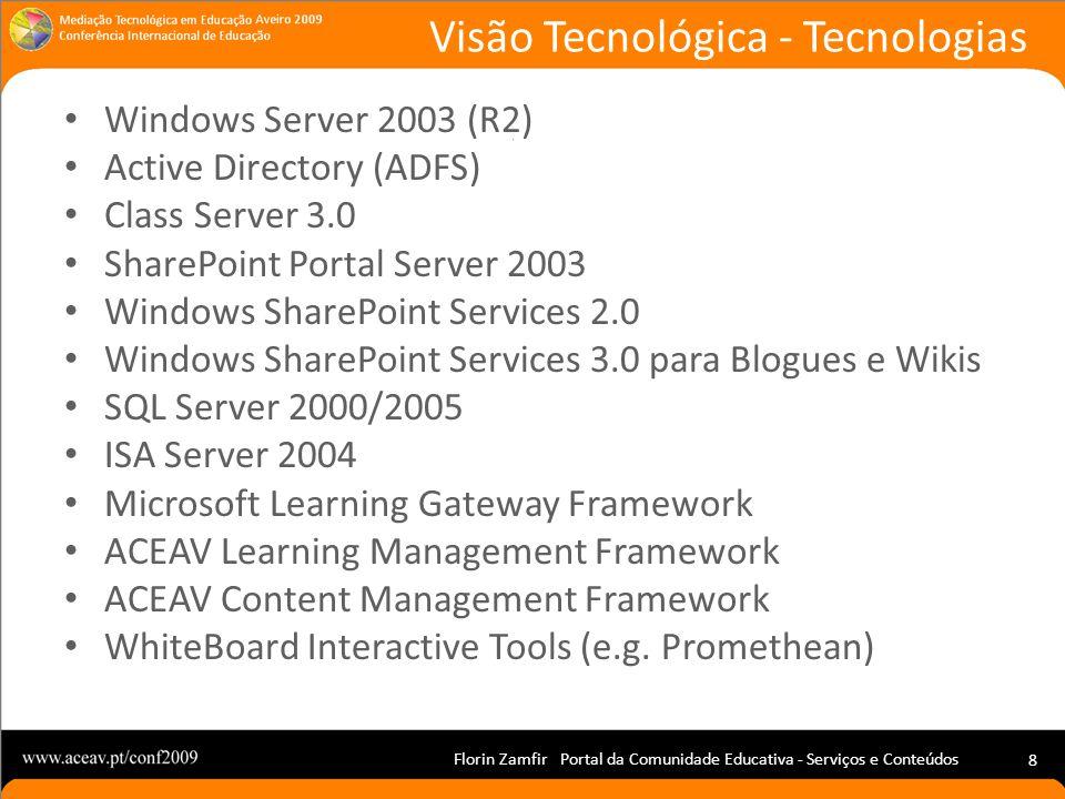 Florin Zamfir Portal da Comunidade Educativa - Serviços e Conteúdos 8 Windows Server 2003 (R2) Active Directory (ADFS) Class Server 3.0 SharePoint Por