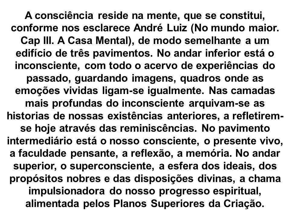 A consciência reside na mente, que se constitui, conforme nos esclarece André Luiz (No mundo maior. Cap III. A Casa Mental), de modo semelhante a um e