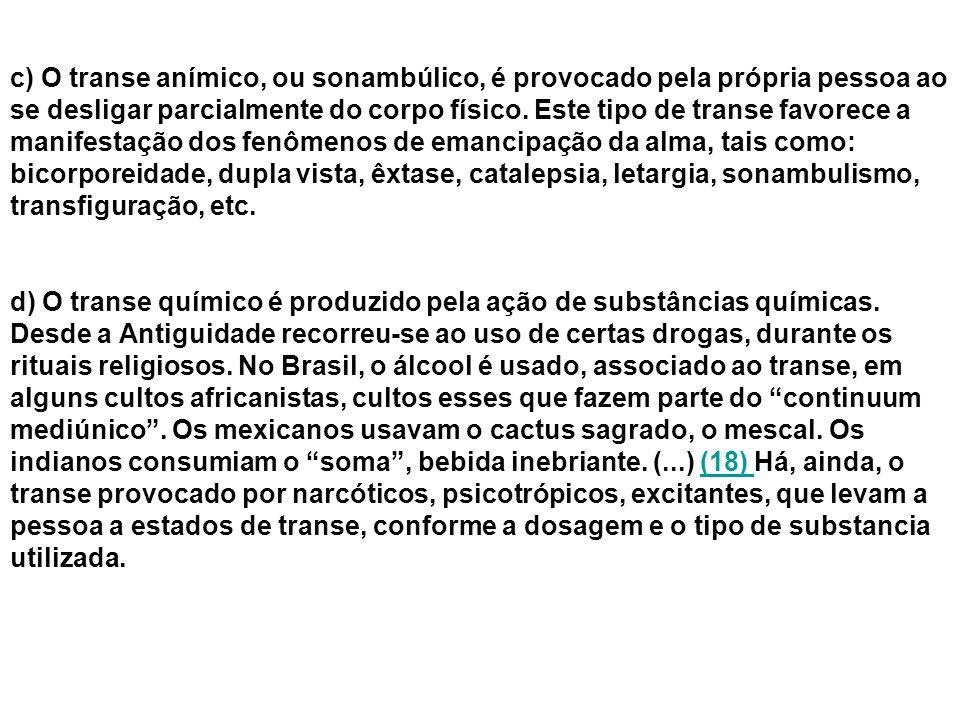 c) O transe anímico, ou sonambúlico, é provocado pela própria pessoa ao se desligar parcialmente do corpo físico.