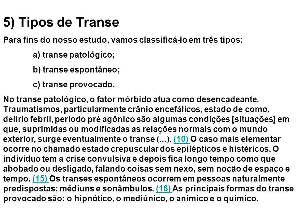5) Tipos de Transe Para fins do nosso estudo, vamos classificá-lo em três tipos: a) transe patológico; b) transe espontâneo; c) transe provocado.