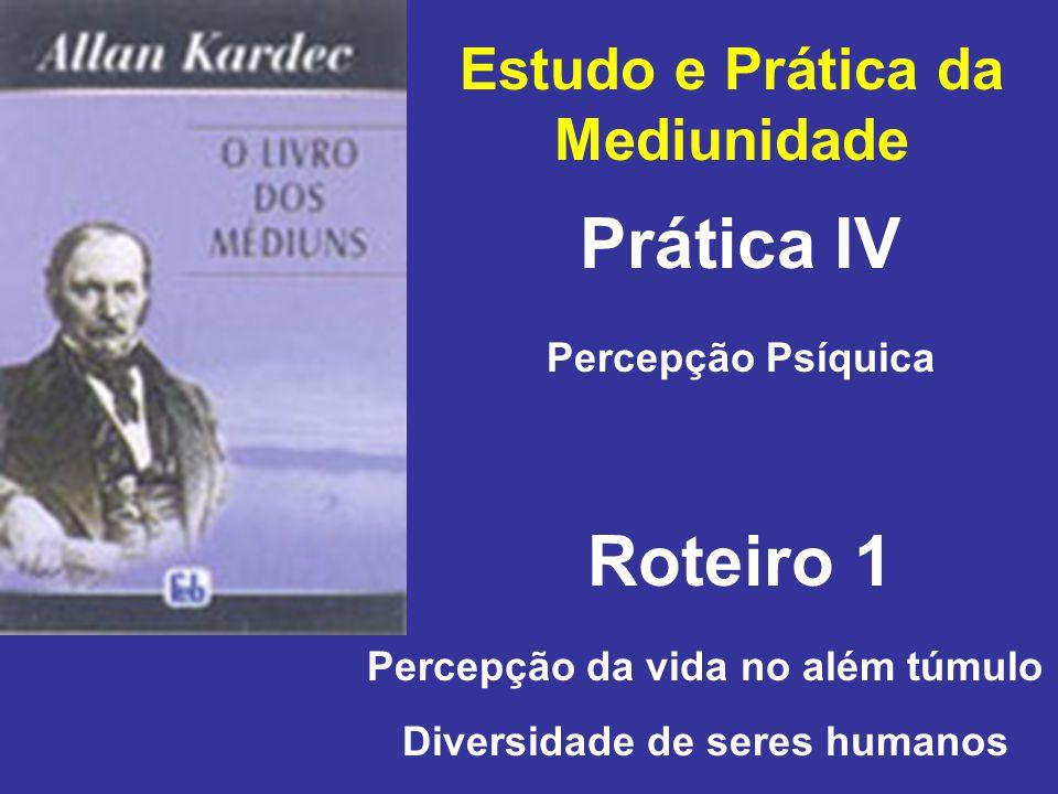 Estudo e Prática da Mediunidade Prática IV Roteiro 1 Percepção Psíquica Percepção da vida no além túmulo Diversidade de seres humanos