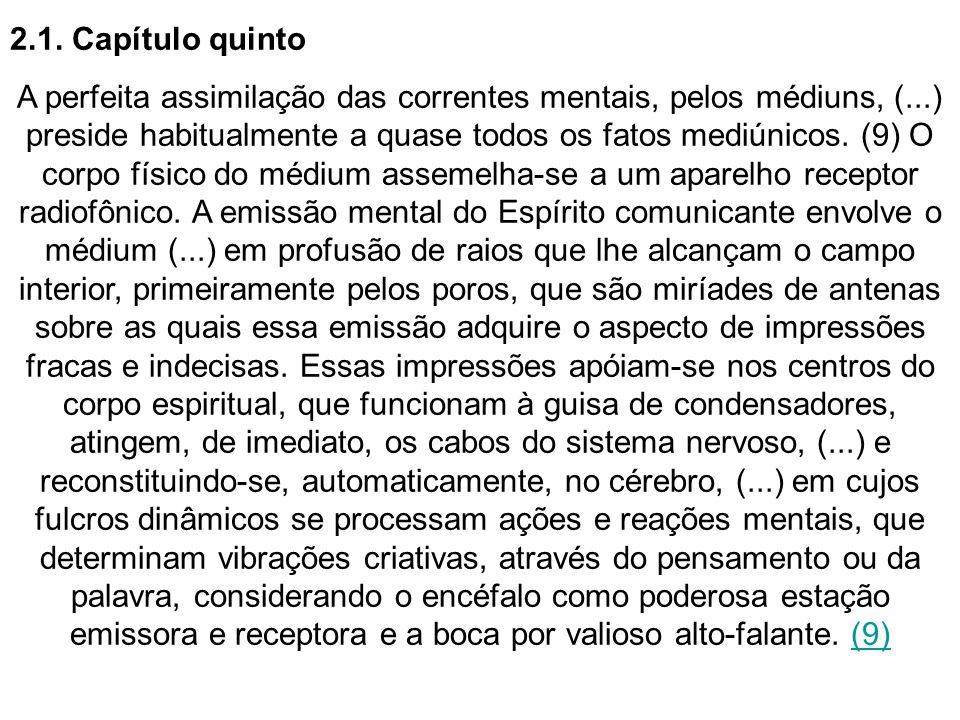 2.1. Capítulo quinto A perfeita assimilação das correntes mentais, pelos médiuns, (...) preside habitualmente a quase todos os fatos mediúnicos. (9) O