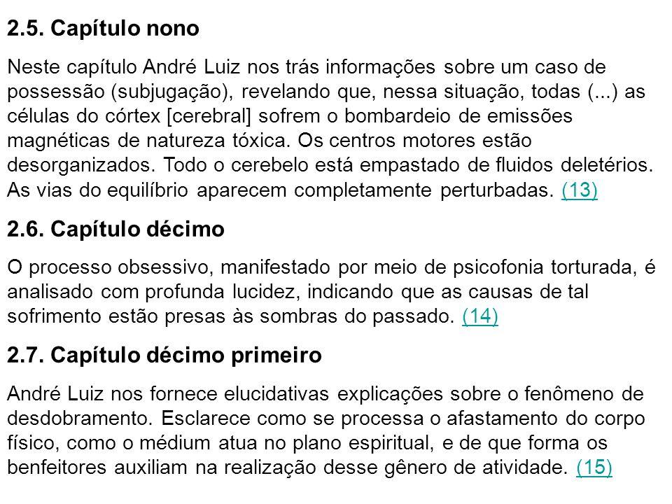 2.5. Capítulo nono Neste capítulo André Luiz nos trás informações sobre um caso de possessão (subjugação), revelando que, nessa situação, todas (...)