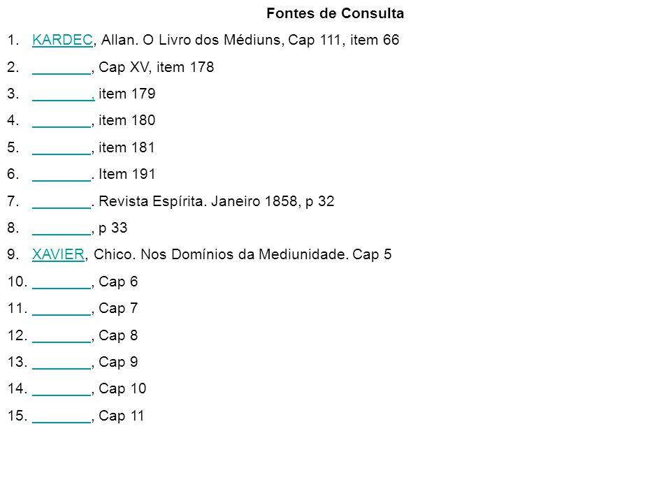 Fontes de Consulta 1.KARDEC, Allan. O Livro dos Médiuns, Cap 111, item 66KARDEC 2._______, Cap XV, item 178_______ 3._______, item 179_______, 4._____