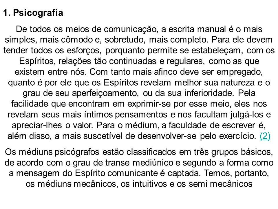 1.1 Médiuns psicógrafos mecânicos Na psicografia mecânica, (...) o que caracteriza o fenômeno é que o médium não tem a menor consciência do que escreve.