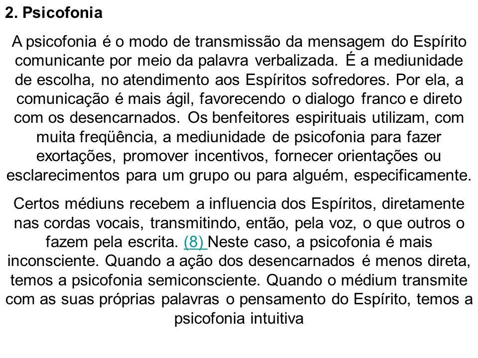 2. Psicofonia A psicofonia é o modo de transmissão da mensagem do Espírito comunicante por meio da palavra verbalizada. É a mediunidade de escolha, no
