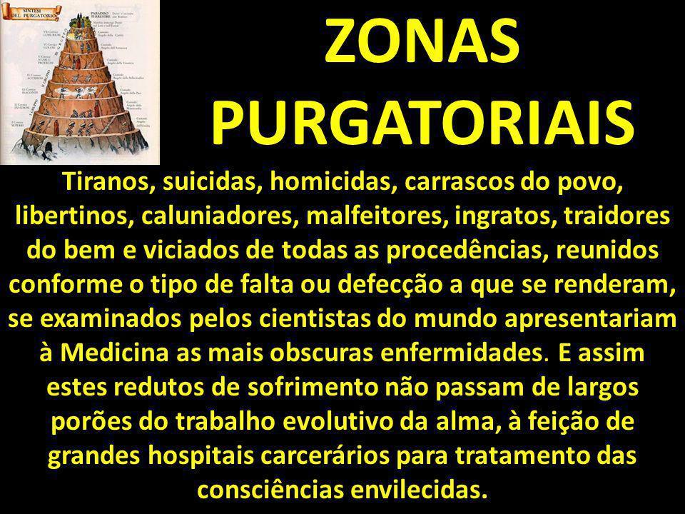 ZONAS PURGATORIAIS Tiranos, suicidas, homicidas, carrascos do povo, libertinos, caluniadores, malfeitores, ingratos, traidores do bem e viciados de to