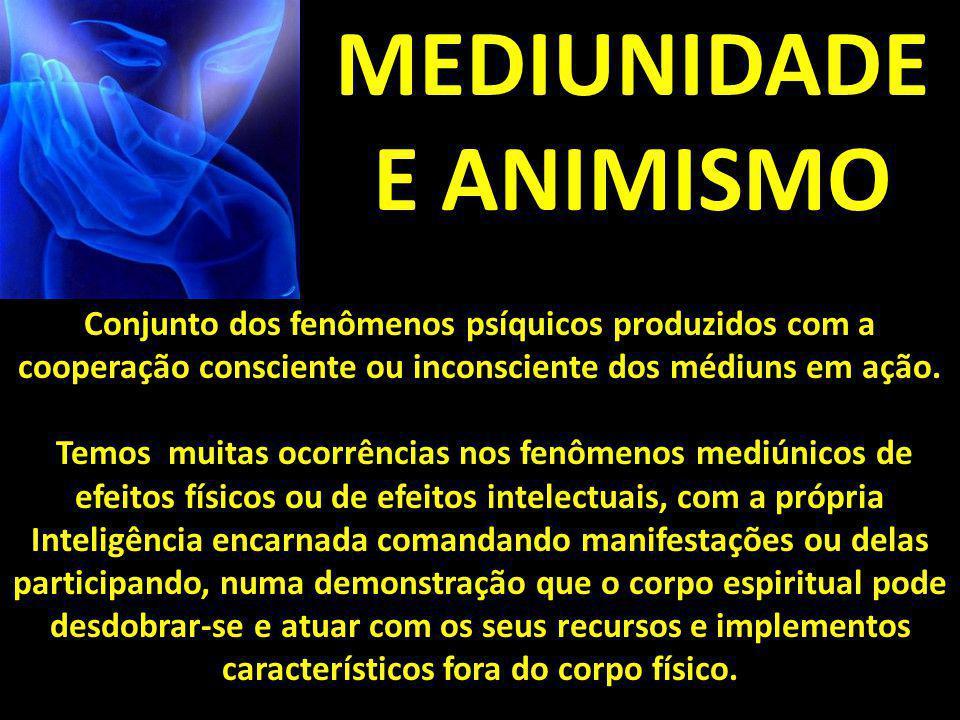 MEDIUNIDADE E ANIMISMO Conjunto dos fenômenos psíquicos produzidos com a cooperação consciente ou inconsciente dos médiuns em ação. Temos muitas ocorr