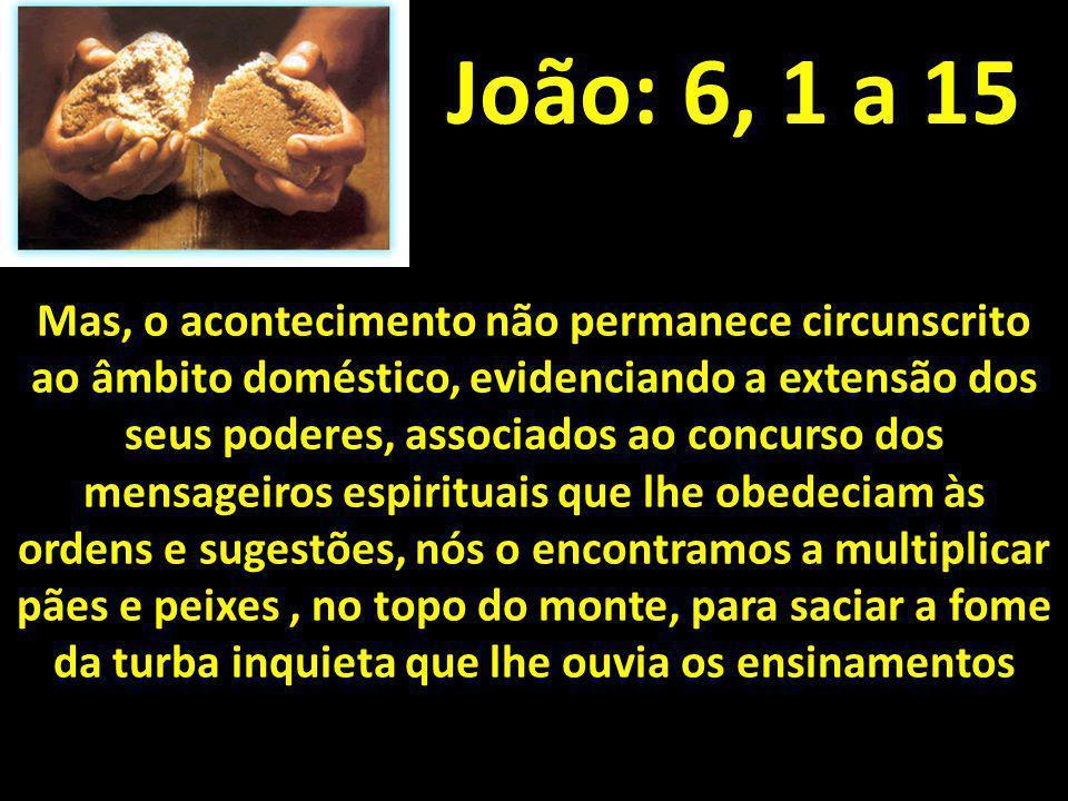 João: 6, 1 a 15 Mas, o acontecimento não permanece circunscrito ao âmbito doméstico, evidenciando a extensão dos seus poderes, associados ao concurso