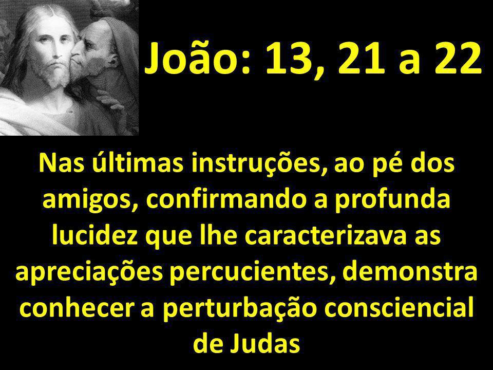 João: 13, 21 a 22 Nas últimas instruções, ao pé dos amigos, confirmando a profunda lucidez que lhe caracterizava as apreciações percucientes, demonstr