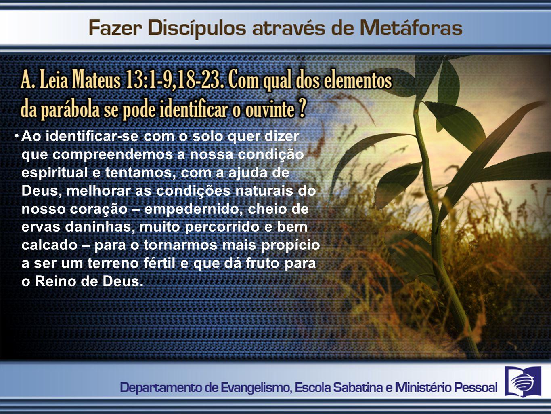 Ao identificar-se com o solo quer dizer que compreendemos a nossa condição espiritual e tentamos, com a ajuda de Deus, melhorar as condições naturais