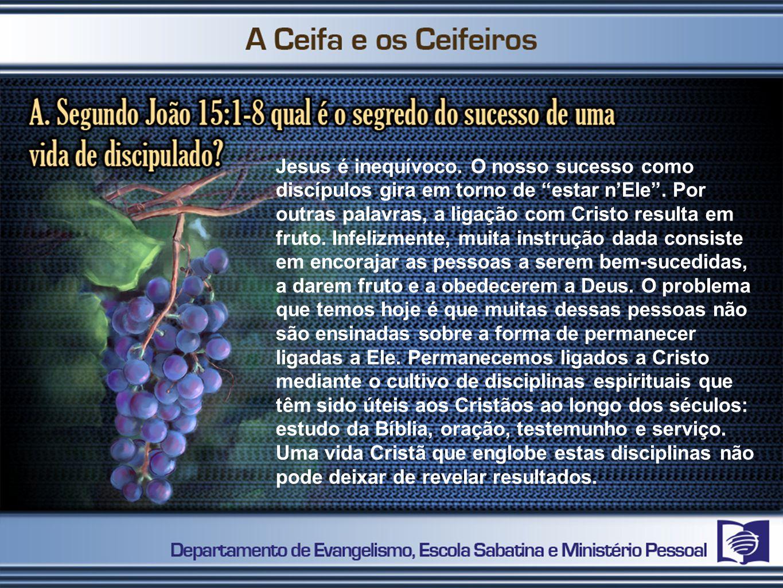 Jesus é inequívoco. O nosso sucesso como discípulos gira em torno de estar nEle. Por outras palavras, a ligação com Cristo resulta em fruto. Infelizme