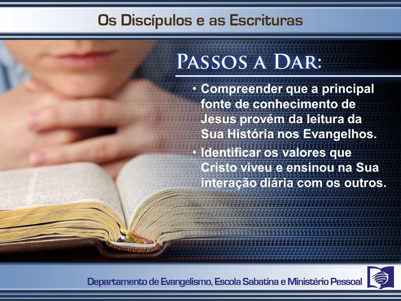 Compreender que a principal fonte de conhecimento de Jesus provém da leitura da Sua História nos Evangelhos. Identificar os valores que Cristo viveu e