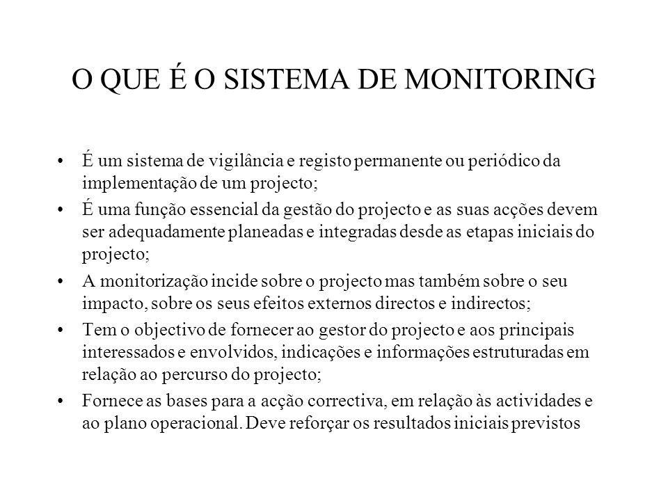 O QUE É O SISTEMA DE MONITORING É um sistema de vigilância e registo permanente ou periódico da implementação de um projecto; É uma função essencial da gestão do projecto e as suas acções devem ser adequadamente planeadas e integradas desde as etapas iniciais do projecto; A monitorização incide sobre o projecto mas também sobre o seu impacto, sobre os seus efeitos externos directos e indirectos; Tem o objectivo de fornecer ao gestor do projecto e aos principais interessados e envolvidos, indicações e informações estruturadas em relação ao percurso do projecto; Fornece as bases para a acção correctiva, em relação às actividades e ao plano operacional.