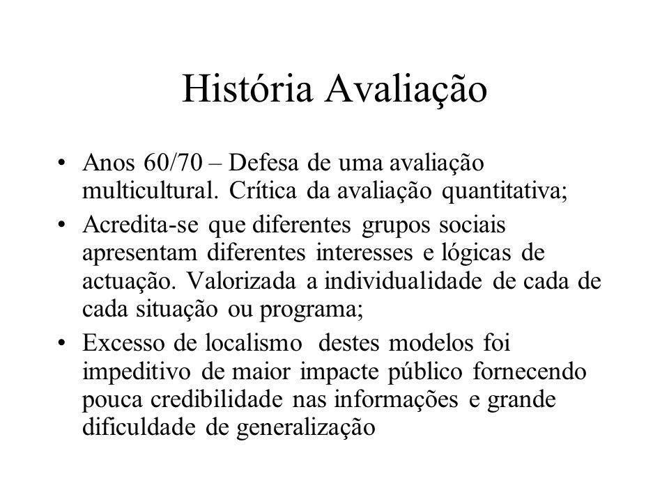 História Avaliação Anos 60/70 – Defesa de uma avaliação multicultural.