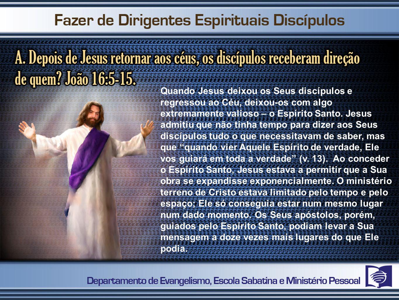 Quando Jesus deixou os Seus discípulos e regressou ao Céu, deixou-os com algo extremamente valioso – o Espírito Santo. Jesus admitiu que não tinha tem