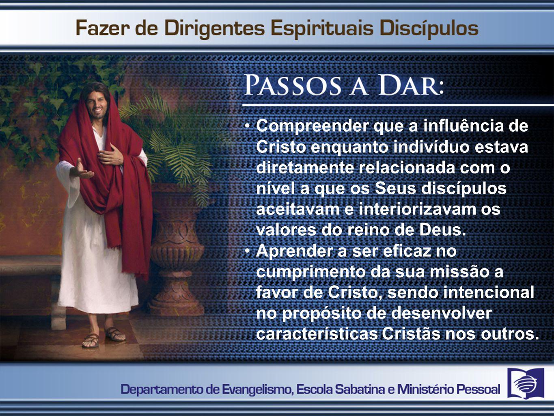 Compreender que a influência de Cristo enquanto indivíduo estava diretamente relacionada com o nível a que os Seus discípulos aceitavam e interiorizav