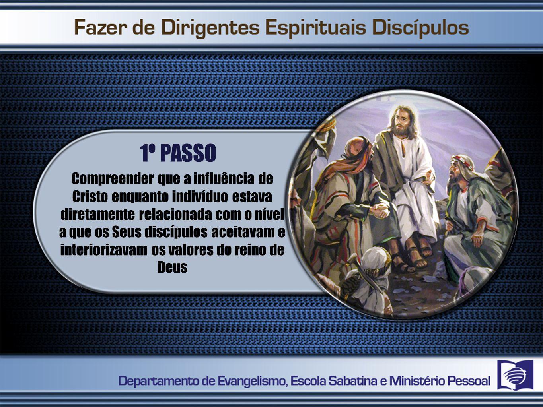 1º PASSO Compreender que a influência de Cristo enquanto indivíduo estava diretamente relacionada com o nível a que os Seus discípulos aceitavam e interiorizavam os valores do reino de Deus