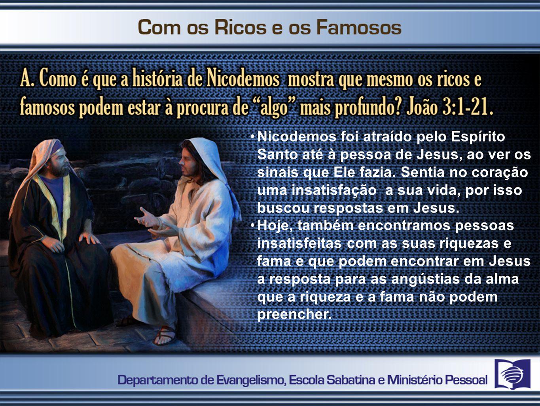 Nicodemos foi atraído pelo Espírito Santo até à pessoa de Jesus, ao ver os sinais que Ele fazia. Sentia no coração uma insatisfação a sua vida, por is