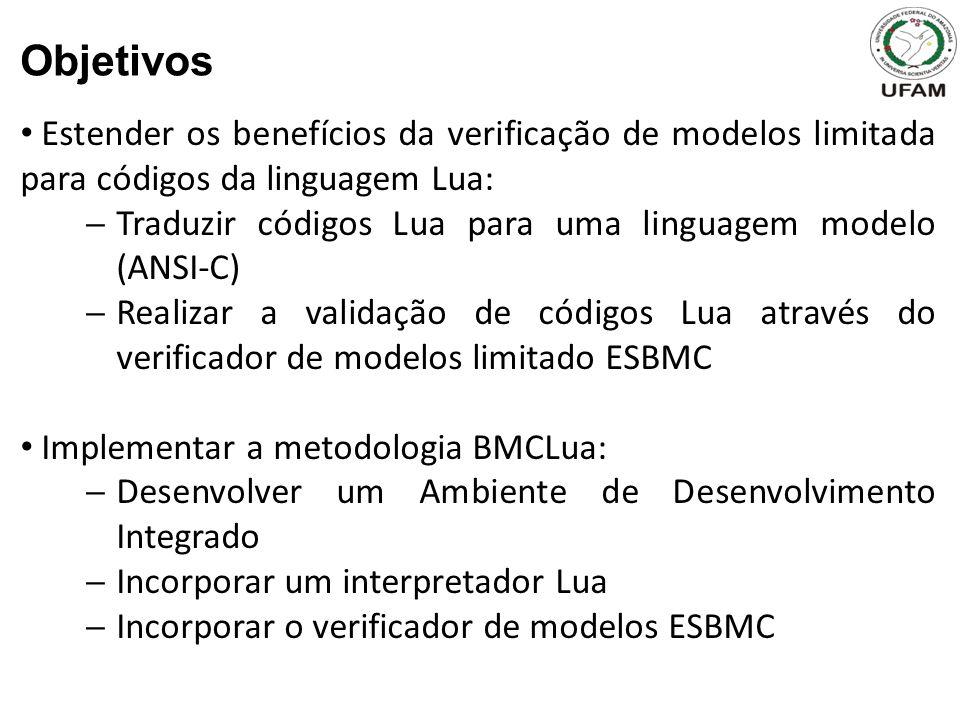 Objetivos Estender os benefícios da verificação de modelos limitada para códigos da linguagem Lua: Traduzir códigos Lua para uma linguagem modelo (ANSI-C) Realizar a validação de códigos Lua através do verificador de modelos limitado ESBMC Implementar a metodologia BMCLua: Desenvolver um Ambiente de Desenvolvimento Integrado Incorporar um interpretador Lua Incorporar o verificador de modelos ESBMC