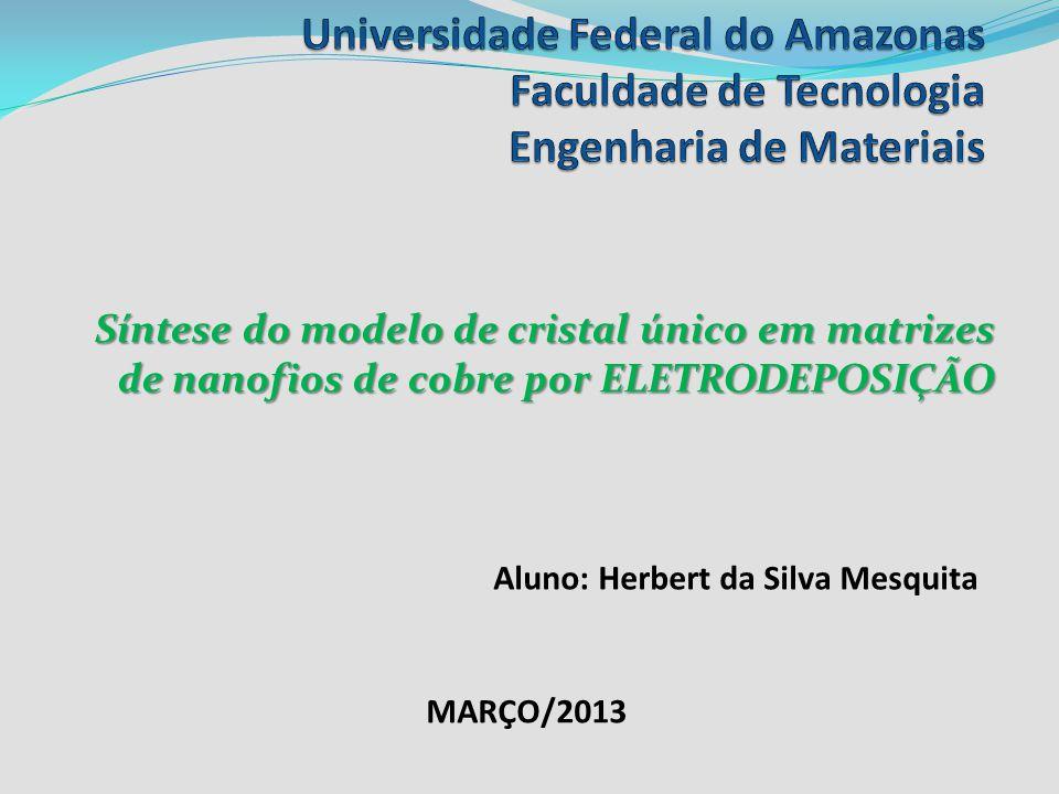 Síntese do modelo de cristal único em matrizes de nanofios de cobre por ELETRODEPOSIÇÃO MARÇO/2013 Aluno: Herbert da Silva Mesquita