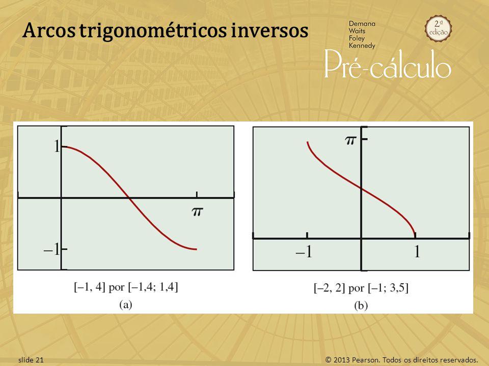 © 2013 Pearson. Todos os direitos reservados.slide 21 Arcos trigonométricos inversos