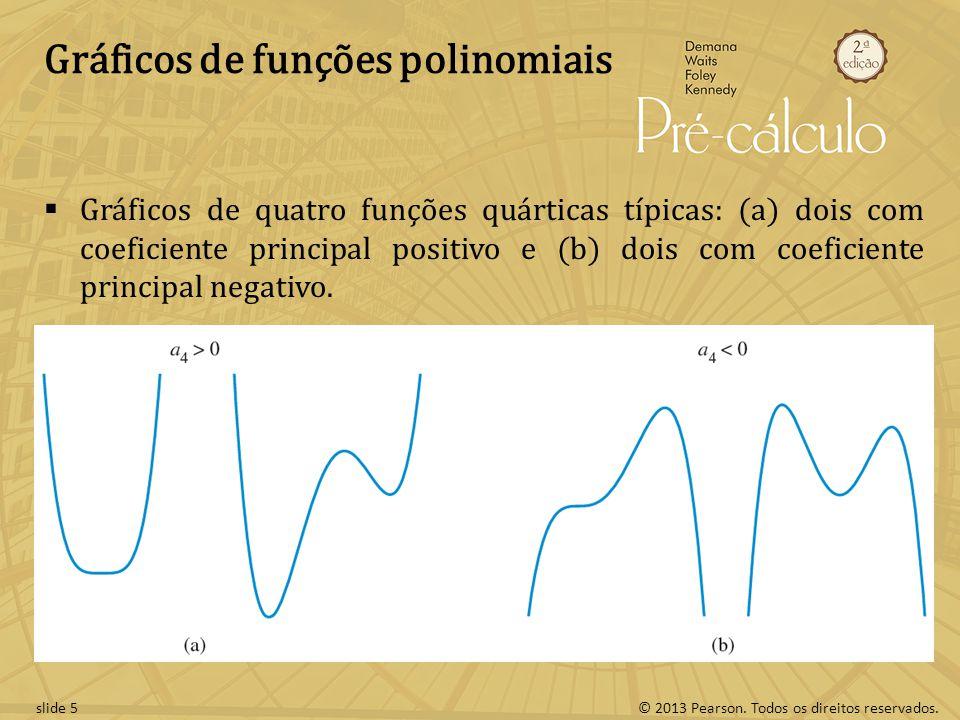 © 2013 Pearson. Todos os direitos reservados.slide 5 Gráficos de funções polinomiais Gráficos de quatro funções quárticas típicas: (a) dois com coefic