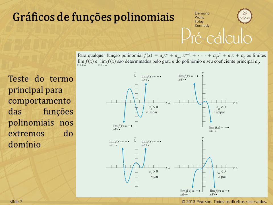 © 2013 Pearson. Todos os direitos reservados.slide 7 Gráficos de funções polinomiais Teste do termo principal para comportamento das funções polinomia